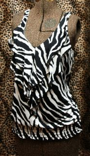 Heart Soul White Black Zebra Print Tank Top L