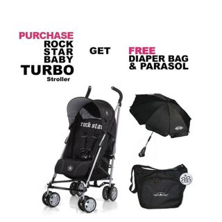 Rock Star Baby Turbo Stroller Free Bag Parasol Gear