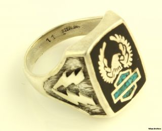 Harley Davidson Motorcycles Ring Sterling Silver Eagle Turquoise Crest