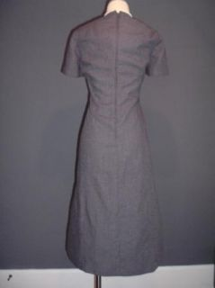 Vtg 80s Does 1930s 1940s WWII Style Gray Secretary Dress Pinup