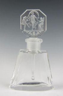 1920 Czech Hoffman Perfume Bottle Intaglio Glass Art Deco Antique