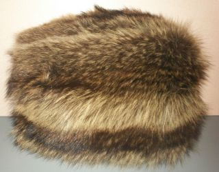 Vintage Raccoon Fur Muff Hand Warmer Purse Glam Luxury Womens
