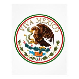 Viva Mexico Mexican Flag Icon w/ Gold Text Flyers