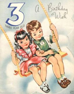 Vintage Magnet Happy Birthday Wish 3 Year Old V45