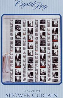 BIG CITY LIFE SCENES PICTORIAL VINYL BATHROOM SHOWER CURTAIN NEW