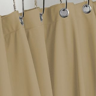 Tan Light Brown Heavy Vinyl Shower Curtain Hotel Weight Metal Grommets