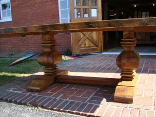 Reclaimed Wood Double Pedestal Trestle Table Breadboard Ends Carved 7