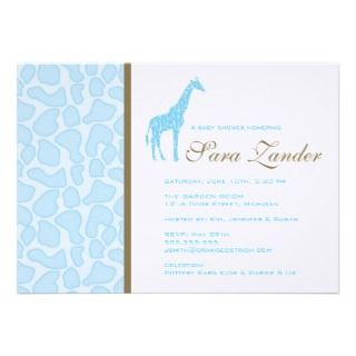 Giraffe Baby Shower Invitation   Boy