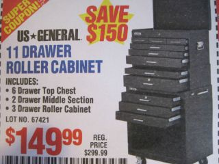 Rolling Cabinet Tool Box Chest HARBOR FREIGHT COUPON TOTAL VALUE 450