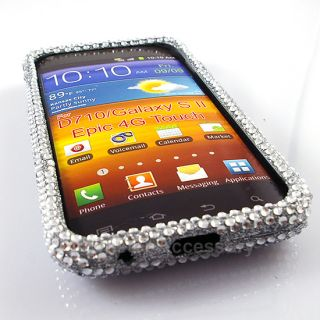 Silver Bling Hard Case Snap on Cover for Samsung Galaxy S2 Sprint Epic