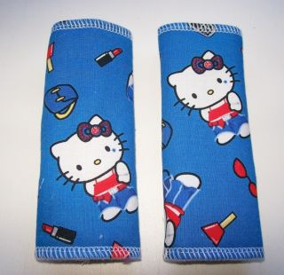 Hello Kitty on Blue Baby Stroller High Chair Seatbelt Cover Pads