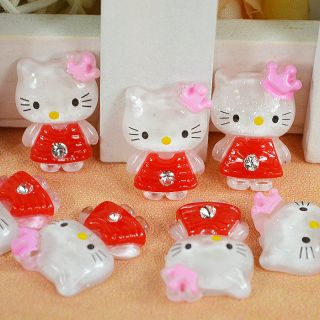 Resin Glitter Hello Kitty Flat back appliques Cabochon Buttons T76