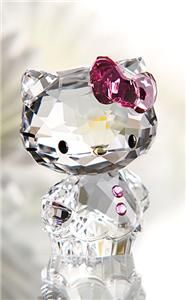 Swarovski Crystal Figurine   Hello Kitty Pink Bow