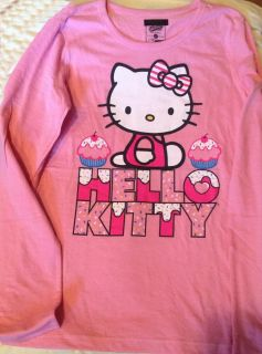 Navy HELLO KITTY Girl sz X Large 14 Pink CupCake Long sleeve Tee Shirt