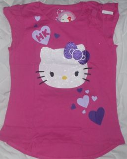New Sz 14 16 Hello Kitty Shirt Girls Pink Purple