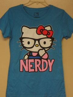 Hello Kitty Blue Hello Kitty nerdy T Shirt