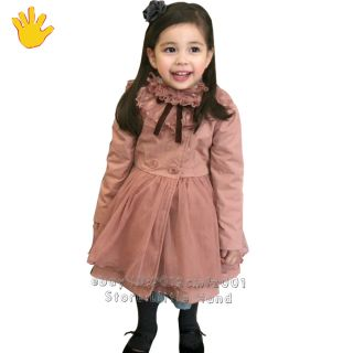 Kids Girls Pale Pink Winter Collar Dress Jacket Pinks Trench Coat Size