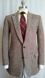 Harris Tweed Medium Brown Herringbone Bold Stripe Sport coat Blazer