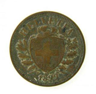 Antique Helvetia Coin Two 2 Rappens 1899 Switzerland Swiss Helvetica