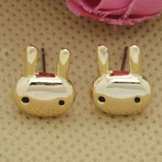 Cute Mini 18K Gold Plated Rabbit Hare Childs Stud Earrings Fashion