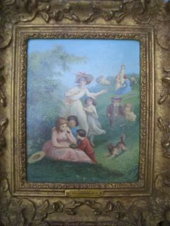 Oil Painting by William Hemsley 1819 1893 Children Dog Playing