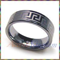 8mm Mens Tungsten Carbide Laser Engraved Greek Key Ring