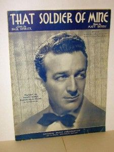 That Soldier of Mine Sheet Music Harry James Cover 1942