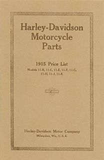 1915 Harley Davidson Motorcycle Parts Price List Reproduction