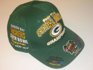 Green Bay Packers 4 Times Super Bowl Champions Adult Cap Hat