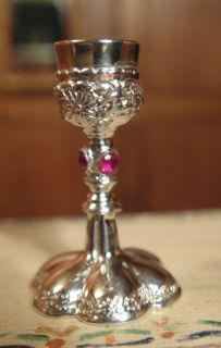 Harry Smiths Sterling Silver Jeweled Sterling Silver Chalice Signed