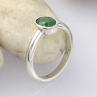 Tsavorite Green Garnet Sterling Silver Ring One of A Kind INSTOCK and