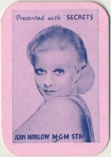 JEAN HARLOW Vintage 1935 Secrets Mini Playing Card   Movie Star