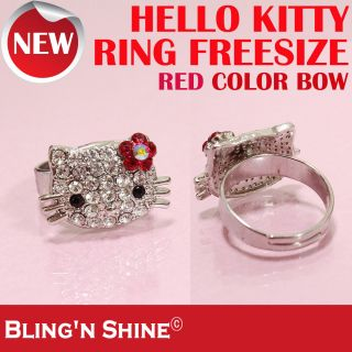 Hello Kitty Ring Cute Cat Face Swarovski Crystal Red Flower Bow High
