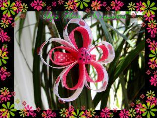 Girls Hair Bow Hello Kitty Flower Ladybug Clip Dress Size 4 5 6 7 8 9