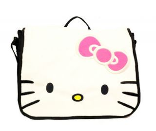 Hello Kitty Face Plush White School Messenger Bag