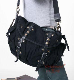 Mens Fashion Canvas Shoulder Tote Bag Messenger Black
