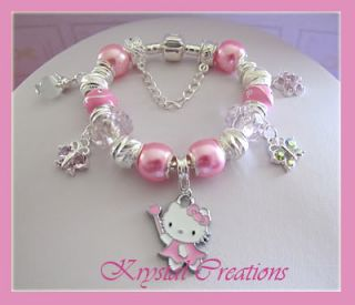 Sweet Pink Hello Kitty Charm Bracelet Lots of Charms Girls 16cm