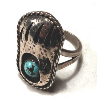 NAVAJO   Shadow Box Turquoise Sterling Silver Bear Paw Ring   Size 6 3