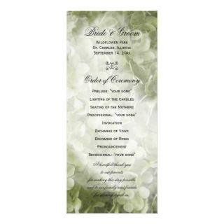 Annabelle Hydrangea Wedding Program Customized Rack Card