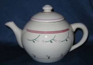 Hartstone Pottery Trellis Teapot Tea Pot Lid USA Pink Green Flowers