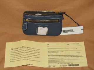 Dooney and Bourke Leather Small Coin Purse Navy Blue