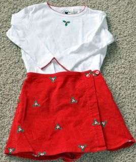 Hartstrings Holiday girls holly outfit shirt skirt skort   cute red sz