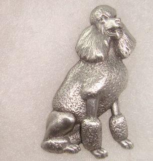 VINTAGE Pewter Silver tone Metal Lion Cut Poodle Dog Pin Brooch JJ