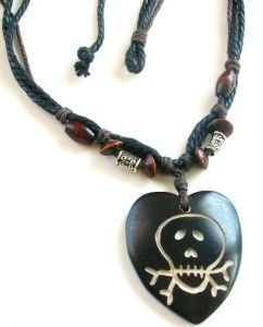 Surfer Beach Hemp Cord Necklace Heart Skull Bone Gothic