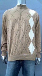 Greg Norman Mens L Cotton 1 2 Zip Sweater Tan Argyle Top Designer
