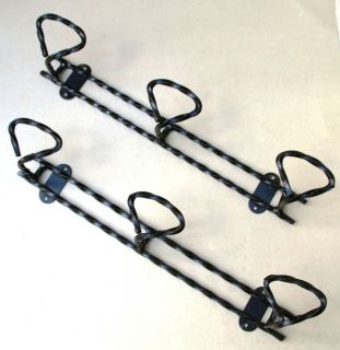 Vintage lot 2 french Coat hat Rack 3 pegs each wrought iron black