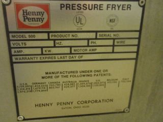 Henny Penny 500 Electric Chicken Pressure Fryer