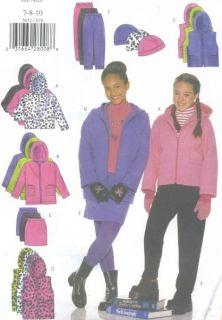 Girls Jacket Vest Skirt Pants Hat Sewing Pattern Hood Exposed Zipper