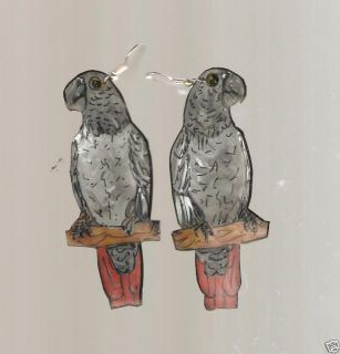 African Grey Parrot Bird Earrings and Pin Brooch Set