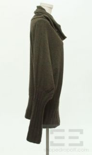 Henry Beguelin Green Brown Ombre Knit Funnel Neck Sweater